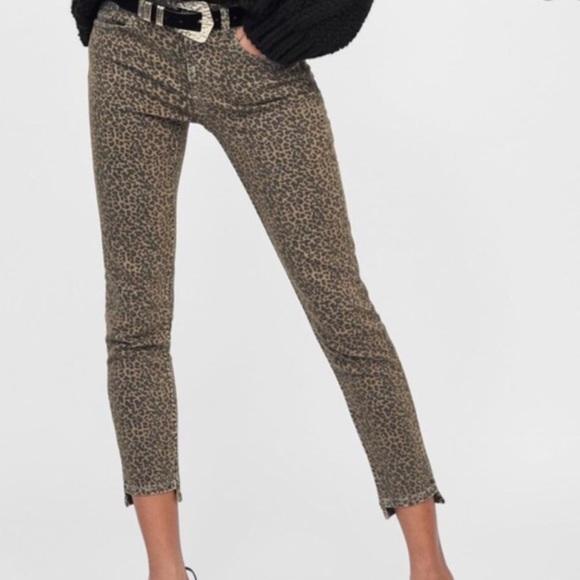 ZARA Leopard Animal Print Step Hem Skinny Jean 12